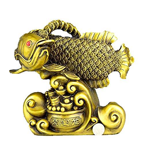 Business Bring in rijkdom schat HOME kantoor Geld Tekenen werkzaamheid Talisman Gouden Vis Arowana FENG SHUI Messing standbeeld