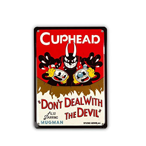 Unbekannt Cuphead Collectibles | Cuphead Don't Deal with The Devil Tin Sign