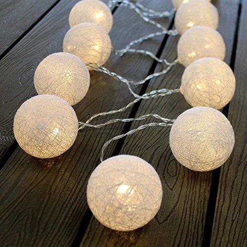 Lot de 10 lampions lumineux à LED à piles - Blanc