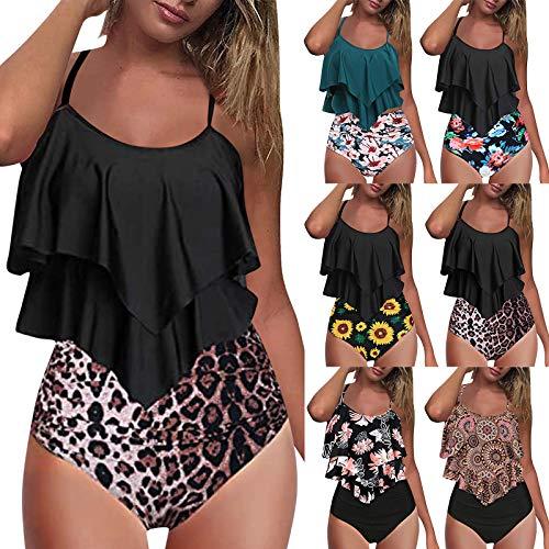 YWLINK Damen Badeanzug Sportlich Bikini Strandbikinis High Bodysuit Bademode Ruffles mit Hohem Beinausschnitt Retrolook IrreguläR äRmellos Drucken Schlinge(Blau,XXL)