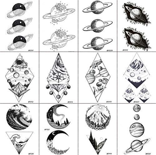 12 Pieces/Lot COKTAK Fake Waterproof Temporary Star Tattoo Stickers Astronaut Illustration Men Body Arm Art Women Black Tatoos Planets Geometric Universe Mountain Kids Tattoos Black Paste 10x6CM