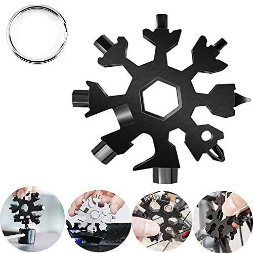 18-in-1 Snowflake Multi tool, Easy N Genius Stainless Steel Snow Multitools Bottle Opener-Screwdriver-Wrench, Cool Gadgets Gift Idea. (Black)