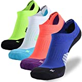 Bike Socks for Women No Show, NIcool Crew Dri-fit Arch Support Athletic Sports Performance Tab Cushioned Socks, 4 Pairs, Multicolor