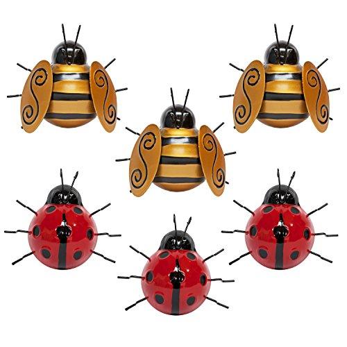Set of 6 Metal Ladybird & Bee Garden Wall Art Ornaments