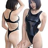 QMYS スマート ハイレグ レオタード 輝く光沢のエナメル製レオタード 光沢鮮やか深Vネック/レースクイーン/コスプレ/ブラック 可愛くて超光沢 ハイレグ スクール水着 競泳水着 (ブラック)