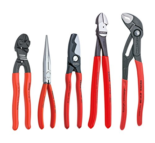 KNIPEX Tools - 5 Piece Automotive Starter Pliers Set (87 01 250, 95 11 200, 26 11 200, 74 01 250, 71 31 200) (9K0080108US)