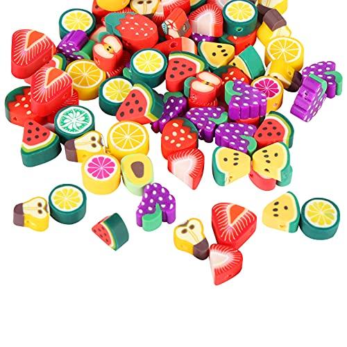 yumcute 200 Pieza de Cuentas de Arcilla Polimérica,Mini Cuentas de Frutas ,para DIY Pulseras Collares Bisutería Regalo Cadena