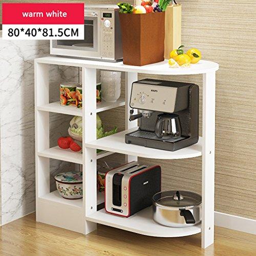 Étagère Peaceip de Cuisine Multilayer Home Storage Rack Four à Micro-Ondes Cadre (Couleur : Blanc Chaud)