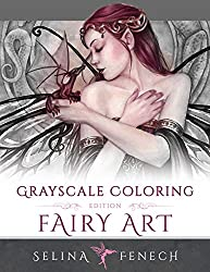 grayscale coloring book fairy art selina fenech