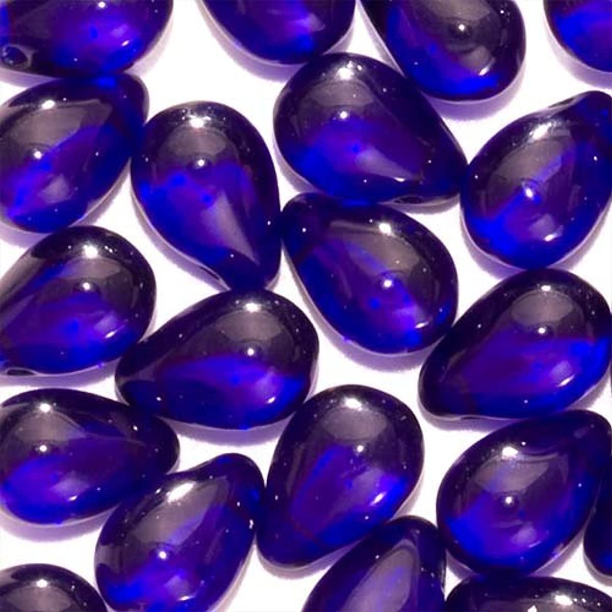 Jablonex Czech Glass Beads 9mm Teardrops Cobalt Blue (50)