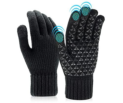 Lozadia Dicke Winter-Strickhandschuhe Verbesserte Touchscreen-Außenhandschuhe Autofahrerhandschuhe Thermowollgefütterte SMS-Handschuhe Warme Laufhandschuhe für Herren Damen Schwarz