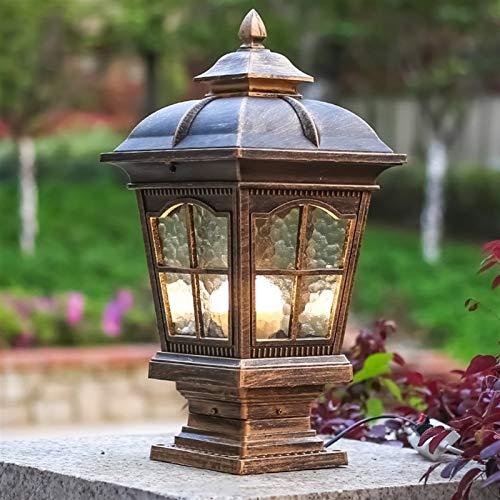 SMLZV Lámparas de Poste LED de Aluminio Fundido con Base de Ajuste para jardín al Aire Libre Poste de Poste Pabellón Pabellón Patio Patio Iluminación (Color : Brown)