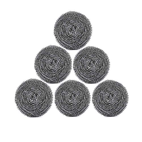Stainless Steel Sponges,URSMART 6 Pack Kitchen Steel Wool,Steel Pot Scrubber for Tough Kitchen Cleaning - Wool Scrubber for Dishes,Pots,Pans,Kitchen Cooking Utensil Cleaning Tools