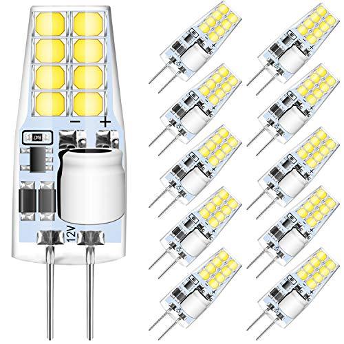 AGOTDG4LED Lampen,3WLED LampenErsetzen30WHalogenlampen,6000KKaltweiße260lm12VAC/DCNichtDimmbareLED Lampen,G4LED LampePinBaseLampen,10erPack