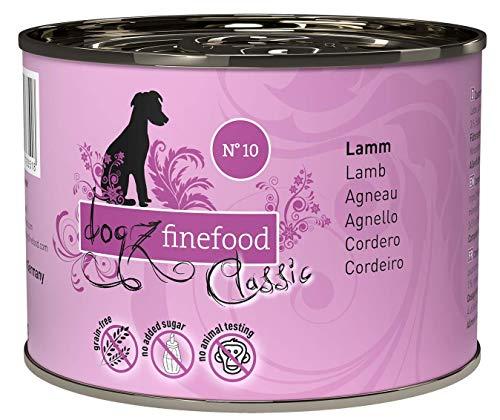 dogz finefood Hundefutter nass - N° 10 Lamm - Feinkost Nassfutter für Hunde & Welpen - getreidefrei & zuckerfrei - hoher Fleischanteil, 6 x 200 g Dose