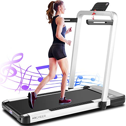 ANCHEER 2 in 1 Under Desk Treadmill, 2.25HP APP Control Folding Treadmills with Large LCD...