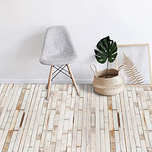 "7 Pcs Vinyl Floor Wall Sticker for Home Decor, Peel and Stick Non-Slip Flooring Plank, Removable Water-Proof Backsplash Tile Decal for Kitchen Bathroom Living Room Decor, 36"" X 6.1"""