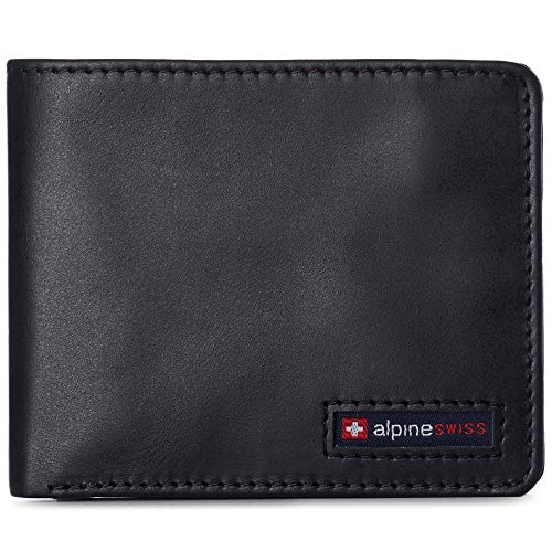 Alpine Swiss Mens RFID Safe Wallet Bifold Passcase Cowhide Leather Billfold Comes in Gift Box Black