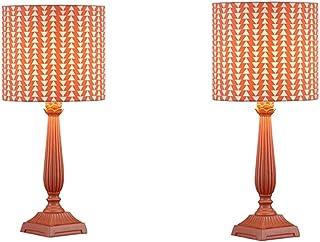 ZZL Lampe de Table Vintage Set 2 Mignon de Table de Nuit avec Toit en Tissu Macaron Style Lampe de Table de Style pour Cha...