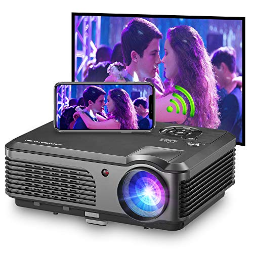 Bluetooth Wireless Projector WiFi 4400 Lumens Support 1080P Smart Android Video Projector Zoom LCD LED Home Theater HD Outdoor Movie Airplay HDMI USB RCA VGA AV for Smartphone DVD Game Consoles Laptop