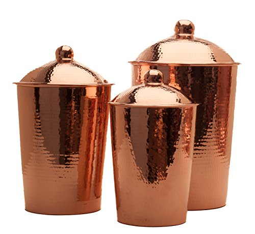 Sertodo Copper Kumran Kitchen Counter Storage Canister with Lid, Hand Hammered 100% Pure Copper, Set of 3