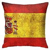 BEDKKJY Funda de Almohada con Cremallera Oculta 18 X 18 Pulgadas Decoración para el hogar Throw Square Vintage España Bandera Funda de Almohada para sofá Dormitorio Funda de cojín