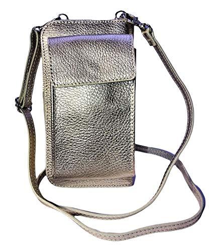 Brakumi Cartera mujer grande porta teléfono móvil de bandolera bolso mujer tarjetas de crédito monedero tarjetas llaves teléfono de piel auténtica funda iPhone regalo mujer original
