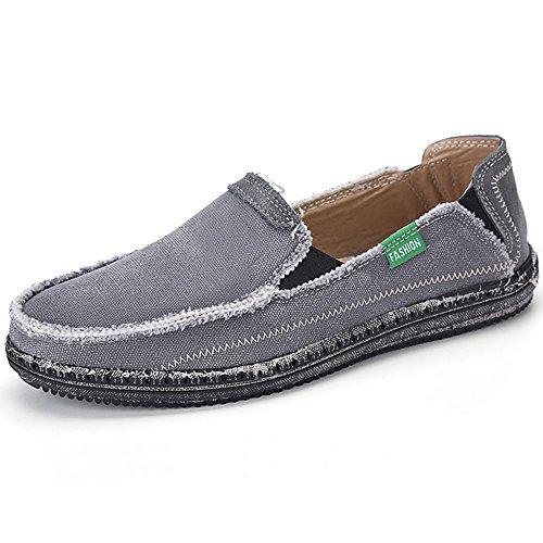 VILOCY Men's Slip on Deck Shoes Canvas Loafer Vintage Flat Boat Shoes Gray US10.5 EU45