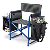 ONIVA - a Picnic Time Brand Fusion Original Design Outdoor Folding Chair, Gray with Blue Frame