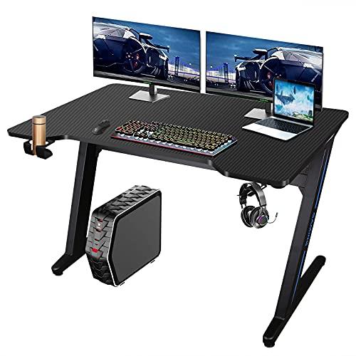 Escritorio de computadora para juegos con luz LED de 40 x 24 pulgadas, escritorio de oficina, mesa de juegos de PC con soporte de taza y gancho para auriculares