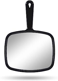 """آینه دستی PROTECLE ، آینه آرایش دستی با دستگیره برای آرایشگاه سلمانی (مربع سیاه 10.3 """"x7.4"""")"""