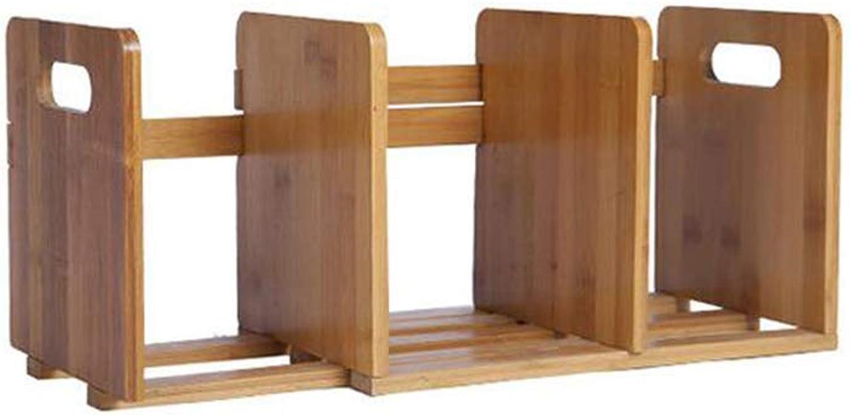 Bookshelf Bamboo Storage Desktop Display Rack Drawers Organiser Office Home Adjustable Expandable CJC (Size   63  19  20cm)