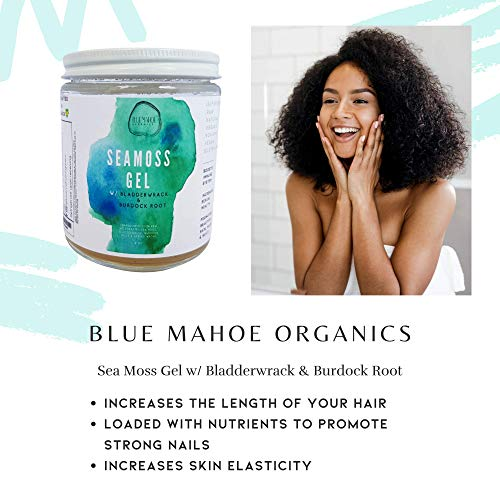 Blue Mahoe Organics 16oZ Sea Moss Gel with Bladderwrack and Burdock Root; Made Daily from Wild Harvested Raw Seamoss Cell Food with Essential Minerals