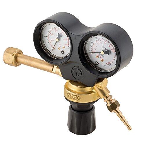 Druckminderer CO2 Argon Mix mit 2 Manometern Professional Anschluss Italien weiblich W21.80 Rhi Kappe OxyTurbo Gas komprimiert bis 300 bar für Schweißgeräte MIG / MAG / WIG
