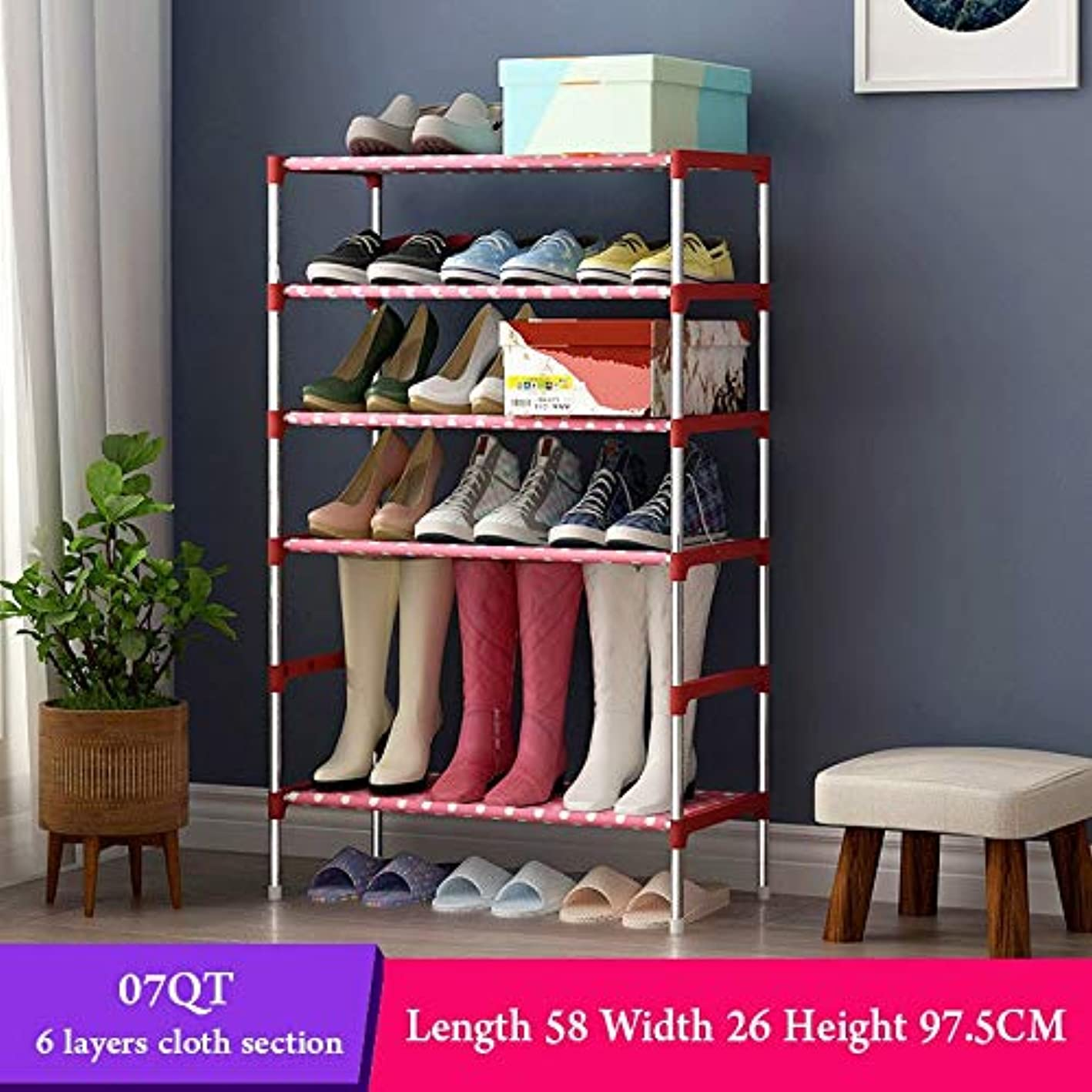 ONE FIVE DAY TOP Sale Multi Layer Shoe Rack with handrail Galvanized Steel Pipe Shoe Cabinet Shoe Organizer Removable Shoe Storage for Home Furniture, Women, Men, Children