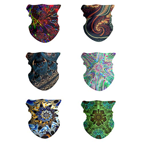 FEDDIY 6PCS Headwear for Men and Women, 16-in-1 Head Wrap, Neck Gaiter, Headband, Fishing Mask, Magic Scarf, Tube Mask, Face Bandana Mask for Camping Running Cycling Fishing (Abstract Fractal Series)