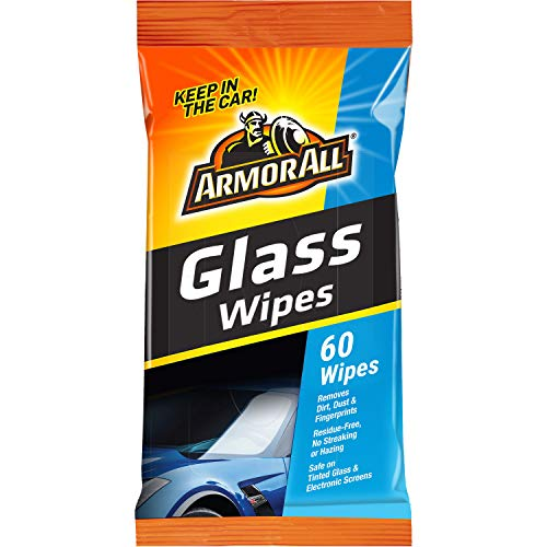 Armor All Car Interior Cleaner Glass Wipes for Dirt & Dust - Protectant for Cars & Truck & Motorcycle, 60 Count, 19270