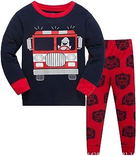 d1ab906218400 HIKIDS Enfants Garçons Pyjama Ensembles de Pyjamas Garcon Mignonne Voiture  de Police Excavatrice Vêtement Camion de