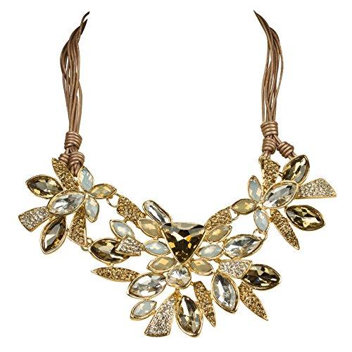 Shirin Sehan Statement Halskette Jacklyn Topas Kristall Platin Metallic Rauchquarz Beige Fashion Gold Schmuck