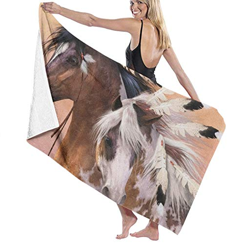 Toalla de baño de caballos nativos americanos portátil ligero toalla de playa toalla de viaje deportes súper absorbente ultra compacta toalla de baño