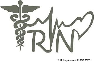 UR Impressions Gry 5.5in. Registered Nurse - RN Caduceus Lifeline Heart Decal Vinyl Sticker Graphics Car Truck SUV Van Wall Window Laptop|Gray|5.5 X 3.1 Inch|URI569