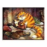 xinmeng Punto de Cruz, Bordado, Gato lustrado de Zapatos, 40x50cm Lienzo Blanco, Hilo de algodón, Bricolaje, Costura, Kits, Decoración del hogar, Animal Crossing