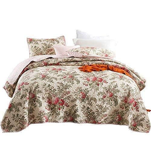 Edredón doble de alta gama Funda de cama con colcha 230x250cm Colcha acolchada 100% algodón Juegos de cama de 3 piezas Manta de cama reversible Sábana multifunción para todas las estaciones + 2 fundas
