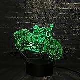KangYD Lampe créative de table de bureau de l'homme de moto, LED de nuit 3D,...