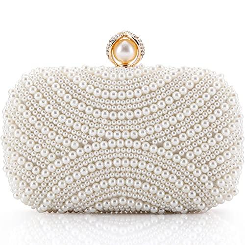 LONGBLE Damen Clutch Perlen Weiß Abendtasche für Party Hochzeit Frau Geschenk Tasche Elegant Handtasche klein Brauttasche Kettentasche...