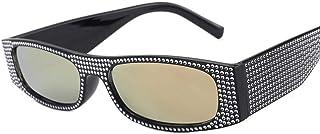 DovSnnx - DovSnnx Gafas De Sol Unisex para Hombres Y Mujers Polarizadas Protección 100% Uv400 Clásico Vintage Moda Sunglasses Lente De Película De Polvo De Marco Negro De Diamante De Imitación