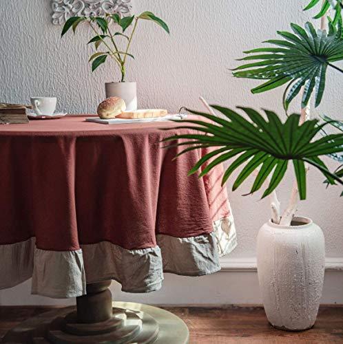 Mantel Redondo de Vino Tinto de 150 cm de diámetro, decoración del hogar, Protege la Mesa de Comedor de Escritorio, Mesa de Centro
