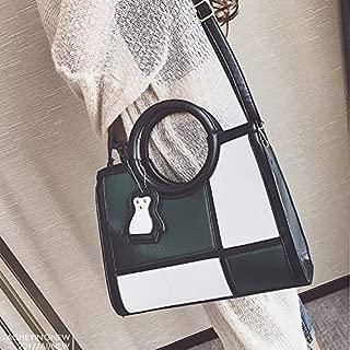 WTYD Single Shoulder Bag Matching Color PU Leather Single Shoulder Bag Ladies Handbag Messenger Bag (Black) (Color : Green)