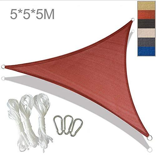 YLEI Cool Area Toldo, Vela de Sombra triángulo, Toldo Vela de Sombra, HDPE protección Rayos UV, Resistente y Transpirable, para Exterior, Jardin, terrazas, Crema,Rojo,5 * 5 * 5m