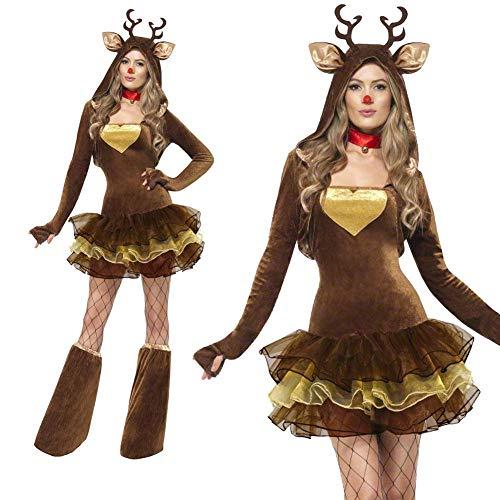 Costume da Renna di Natale,Abito da Tutu da Donna-Adorabile Costume da Famiglia-con Corna di Scialle E Set di Gambe per Il Ringraziamento/Notte di Carnevale/Abbigliamento per Adulti